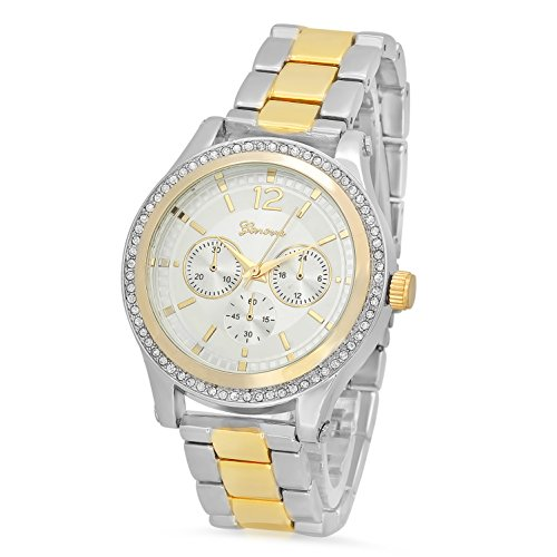 Silver Dial Rhodium Plated Geneva CZ Watch & Two-Tone Gold/Rhodium Band