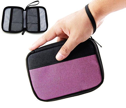 Admirable Idea Small Electronic Organizer Pouch Zipper Travel Cosmetic Makeup Handbag Coins/USB/Hard Drive/Cables Carry Case with Hand Strap (Purple&Black) ()