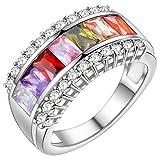 HMILYDYK Women Princess Cut Rainbow Crystals Promise Ring Platinum Plated CZ Eternity Band High Polished