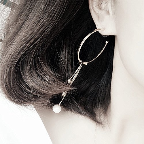 Generic Europe and America exaggeration big circle pearl tassels long section of Japan and South Korea South Korea earrings earrings ear rings earrings ear jewelry women girls lady