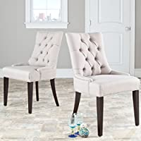 Safavieh Mercer Collection Heather Beige Linen Nailhead Dining Chair, Set of 2
