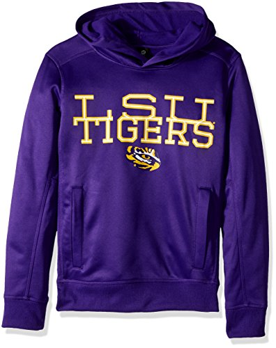 OuterStuff NCAA LSU Tigers Youth Boys Overlap Performance Pullover Hoodie, S(8), Purple Tiger Athletic Sweatshirt