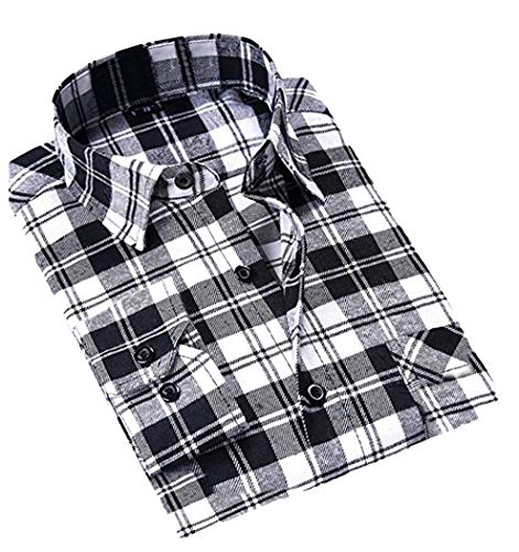 (CATERTO Mens Long Sleeve Plaid Flannel Casual Shirts Checked Button Down Shirts Black&White)
