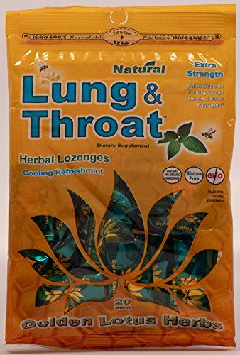 Natural Lozenges Flavor Herbal - GOLDEN LOTUS HERBS Lung & Throat Lozenges Single (Organic), 20 CT