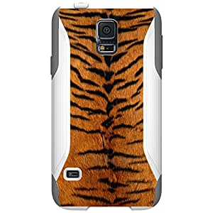 CUSTOM White OtterBox Commuter Series Case for Samsung Galaxy S5 - Yellow Black Tiger Fur Skin
