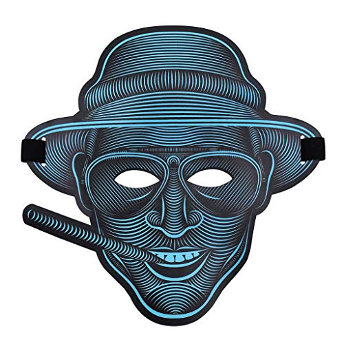 Halloween Horror Nights Purge Anarchy (LED Purge Masks Halloween Mask Scary LED Mask CYAN CAPTAIN Light Up Purge Mask for Halloween Party EL Wire Mask Glowing mask Glow in The Dark Horror Masks Costume Cosplay)