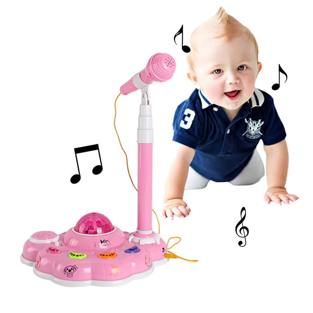 Hohaski Kids IQ Toys Karaoke Disco Light Adjustable Mic & Speaker Stand! Music Sing Along with Flashing Stage Lights and Pedals for Fun Musical Effects (Pink) by Hohaski (Image #2)