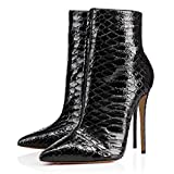 FSJ Women Fashion High Heel Ankle Boots with Rivets Pointed Toe Stilettos Zipper Shoes Size 7 Black Snake