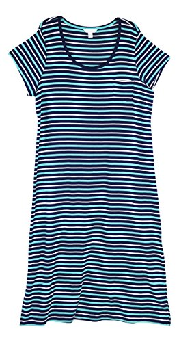 Nightgown Charter Cotton Club (Charter Club Scoop Neck Knit Striped Nightgown (Medieval Blue, XXX-Large))