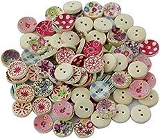 100pcs Colores Pintados Botones De Madera Redonda De Bricolaje Para La Costura Y Elaboración