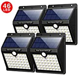 Solar Lights Outdoor, Yacikos [ 4 Pack ] 46 LED Solar Security Lights with Motion Sensor 1800mAh Solar Powered Lights Wireless Waterproof with 3 Modes Security Wall Lights for Garden Yard Fence