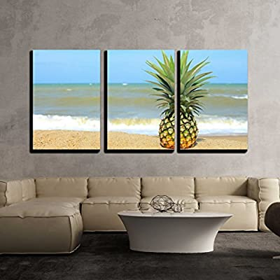 3 Piece Canvas Wall Art - Pineapple on The Beach with Blue Sky - Modern Home Art Stretched and Framed Ready to Hang - 16