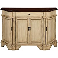 Treasure Trove Four Door One Drawer Credenza, Cream and Dark Brown