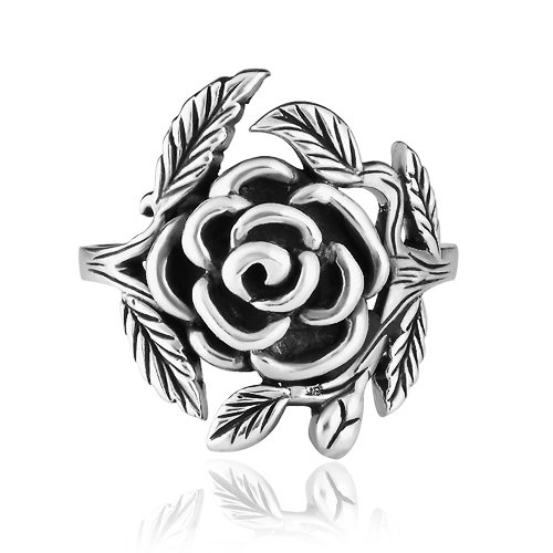 925 Sterling Silver 20 mm Vintage Style Detailed Rose with Leaves Ring - Nickel Free Size 8 -