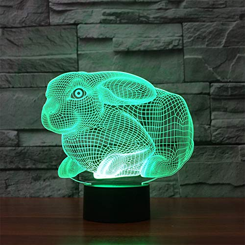 (Bunny Toy Lamp 3D Illusion Lamp Christmas Gift Night Light Beside Table Light, 7 Colors Auto Changing Touch Switch Desk Decoration Lamps Birthday Christmas Gift With Acrylic Flat & ABS Base & USB Cabl)