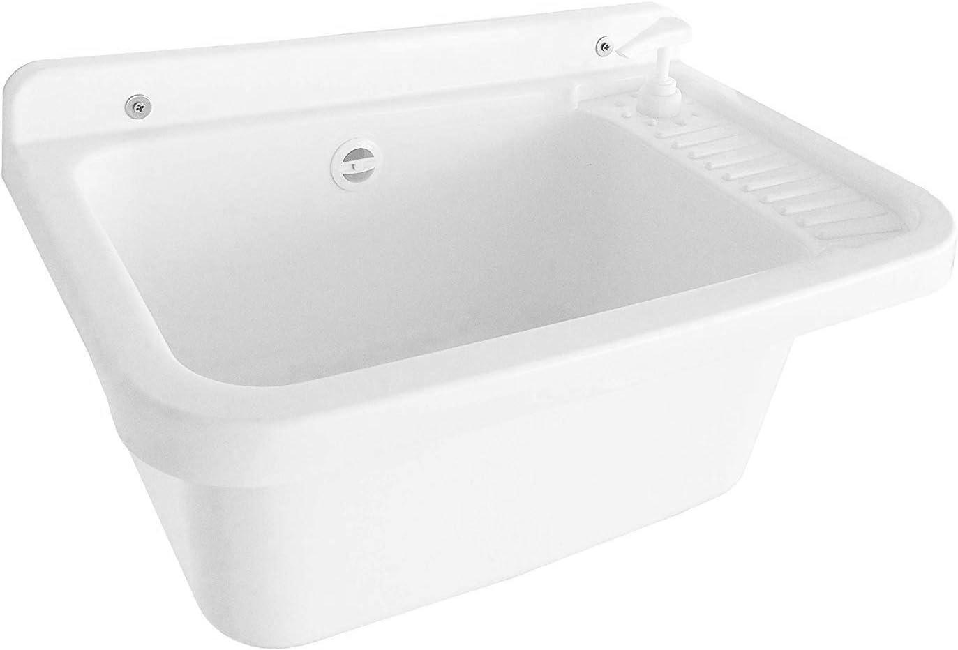 Adventa - Lavabo de Pared con dispensador de jabón, de Resina de Exterior, Color Blanco, 59 x 39 x 28 cm