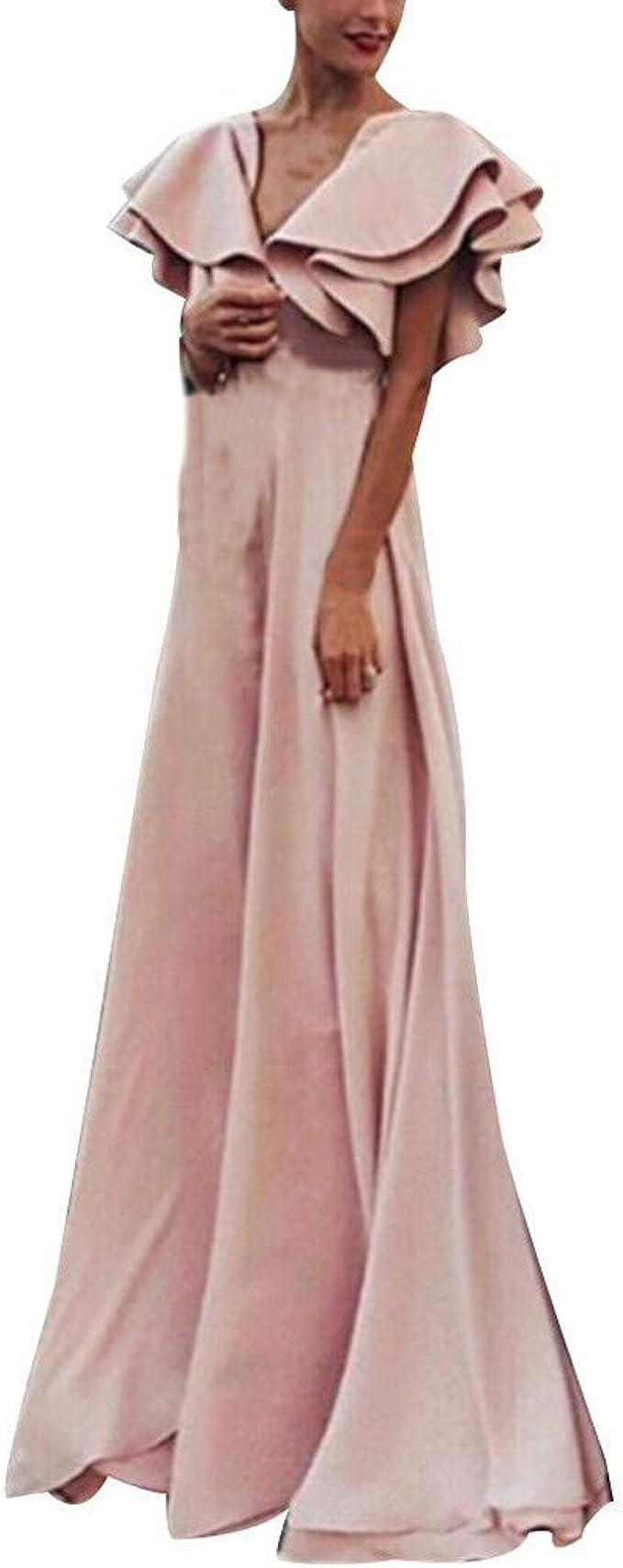 Kurzarm Kleider,Transwen Damen V-Ausschnitt Brautjungfer