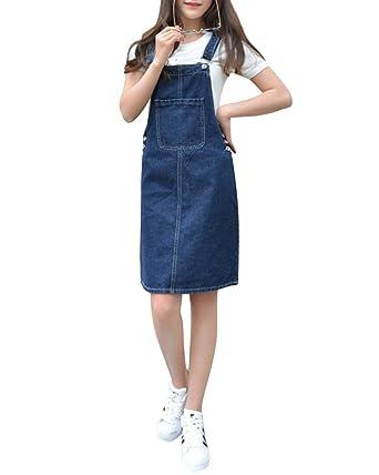 photos officielles ce00f 84b60 Femmes Casual Robe en Denim Robes Mini Jupe Salopette en Jean