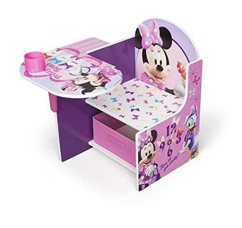 Disney Chair Desk With Storage Bin Minnie Mouse Characters Desk Set Fabric Storage Bin Seat Extra Storage Table Desk Chair MDF Construction Assembly Required Sits Low Children Furniture by Disney