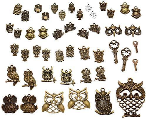 40pc Owl Charms,pendants, Antique Bronze