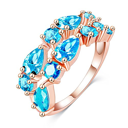 (LuckyWeng New Exquisite Fashion Jewelry Rose Gold Double Row Sapphire Blue Diamond Ring)