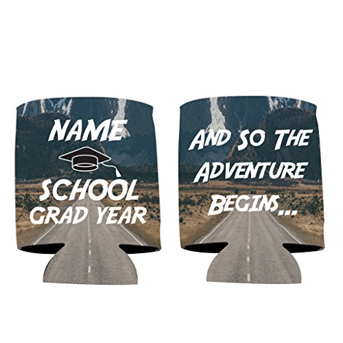 "Personalized Party Cooler - VictoryStore Can and Beverage Coolers: Neoprene Customizable ""And So The Adventure Begins"" Graduation Can Coolers (100)"