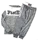 Victoria's Secret Pink Hoodie and Sweat Pants Set Heather Night Snow/Triumph White Large