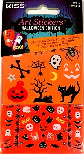 kiss art stickers for nails body halloween edition glow in the dark bone