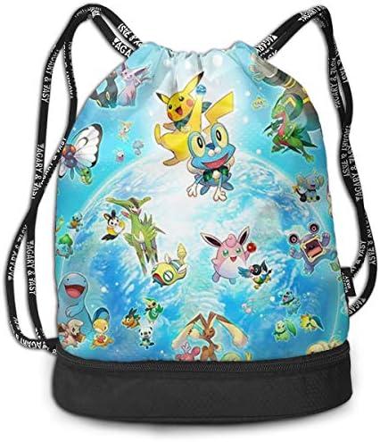 メンズ レディース 兼用ポケモン Ice Pokemon3 ナップサック アウトドア ジムサック 防水仕様 バッグ 巾着袋 スポーツ 収納バッグ 軽量 バッグ 登山 自転車 通学・通勤・運動 ・旅行に最適 アウトドア 収納バッグ