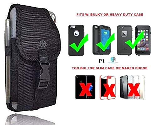 AccessoryHappy Military Grade Cell Phone Belt Case, Rugged Outdoor Pouch Carrying Clip Compatible w/ [iPhone 6 6S 7 8 X XR XS 11 Pro] iPhone 11 Holster Kyocera DuraForce PRO Sam S7 S8 J7