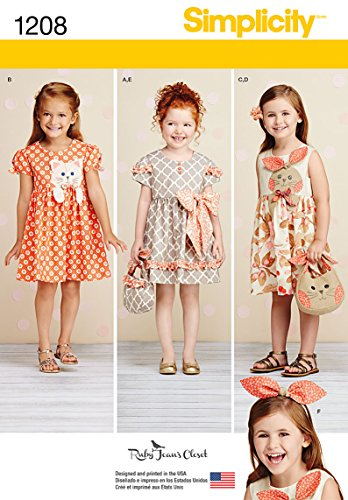 - Simplicity 1208 Girl's Dress, Headband, and Purse Sewing Pattern, Sizes A (3-8)