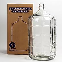 Fermenter's Favorites 6 Gallon Glass Carboy Fermenter for Home Brewing Beer, Wine Making, Hard Cider fermentation
