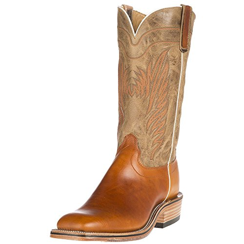 NRS Olathe Boot Co. Mens Ride Ready Bone Mad Cat Goat Steer Hide Boots 12 B Tan
