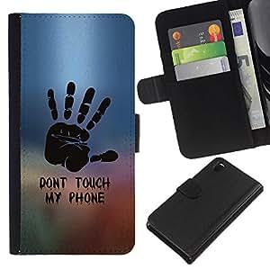 YiPhone /// Tirón de la caja Cartera de cuero con ranuras para tarjetas - NO TOQUE MI TELÉFONO - Sony Xperia Z3 D6603