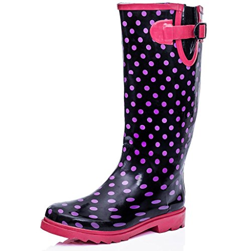 Flat Festival Wellies Wellington Rain Boots Black UK 5 oNQcL