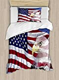 Ambesonne American Flag Duvet Cover Set Twin Size, Bless America Flag in The Wind with Eagle Icon Double Exposure Citizen Image, Decorative 2 Piece Bedding Set with 1 Pillow Sham, Multicolor