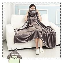 Anime Throw Blanket Flannel Fleece Blanket Cosplay Cloak Shawl Wrap Daily Nap Quilt (TOTORO, 160X110cm)