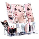 VICOODA Lighted Makeup Mirror with 21 LED Lights, Makeup Vanity Mirror with Acrylic Organizer, Trifold 3X 5X Magnification Sections, Touch Screen Dimming, Dual Power Supply, 180 Rotation