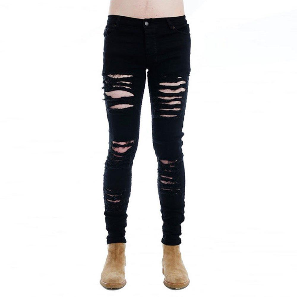 Shilanmei Mens Punk Hipster Hole Skinny Denim Slim Biker Ripped Jeans Street Wear 34