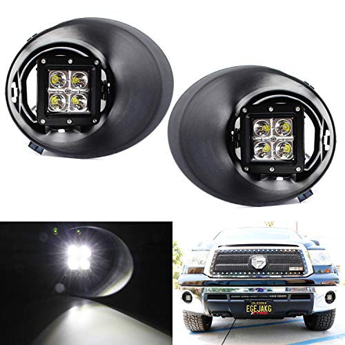 iJDMTOY LED Pod Light Fog Lamp Kit For 2007-13 Toyota Tundra Pre-LCI, Includes (2) 20W High Power CREE LED Cubes, Foglight Bezel Covers, Mounting Brackets & Wiring/Adapter Harnesses