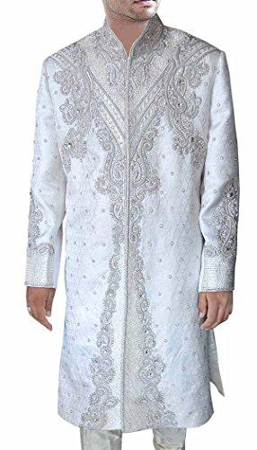 (INMONARCH Groom Sherwani forMen Wedding White Sherwani Traditional SH0397S36 36 Short White)