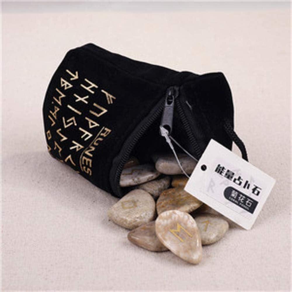 SDJH 25 Piezas de Piedras rúnicas Piedras de adivinación Naturales para la meditación Cristal Irregular Cuarzo Rosa Aventurina Verde Tallado Reiki Curación, Fósil de Coral