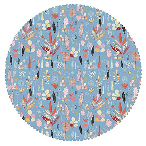 iPrint Decorative Round Tablecloth [ Colorful,Floral Artwork Autumn Leaves on Blue Backdrop Garden Theme Nature Illustration,Multicolor ] Decorative Ideas