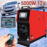 12V 5KW Parking Heater Diesel Air Heater,Auto Diesel Air Heater with Remote Controller Thermostat Air Parking Heater with 4 Holes LCD Monitor for Car/Truck/Boats/Bus