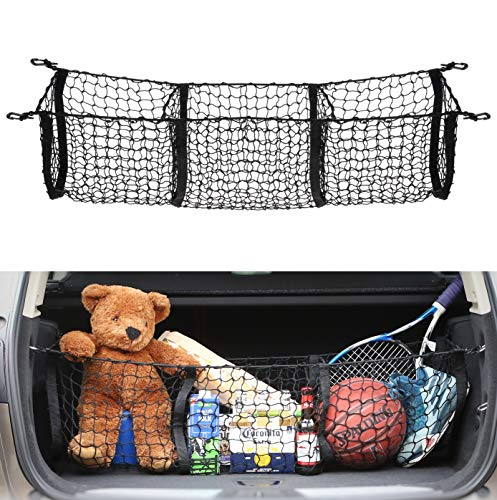 (AutoAc 3 Pocket Cargo Net Trunk Organizer 45-by-16-Inch Stretchable Truck Bed Storage Universal Storage Mesh)