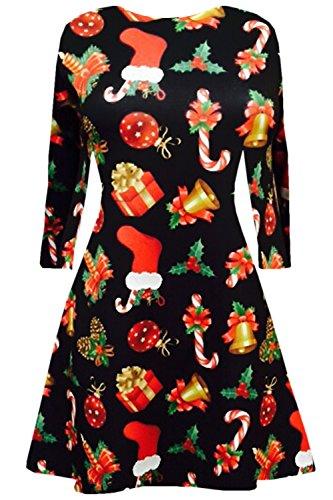 donna Natale vestito Flared top Oops lunghe neve UK regali misure maniche Natale di Olaf campane Plus Outlet stampato Swing pupazzo nbsp; Babbo 8 gaq56Y