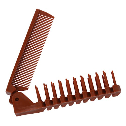 2 Pcs Lady Coffee Color Fishbone Shaped 2 Way Folding Hair Brush Pocket Comb