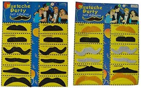 12pcs Black Costume Fancy Stylish Party Fake Self Adhesive Mustache Moustache