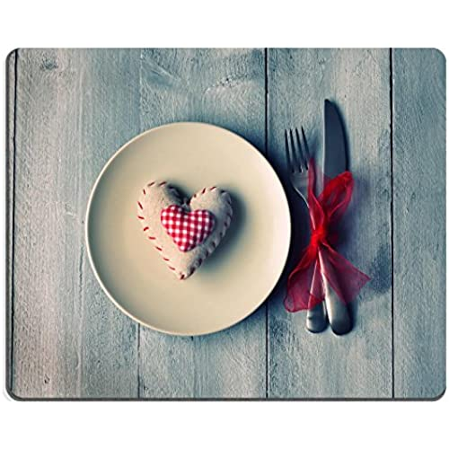 MSD Natural Rubber Gaming Mousepad St Valentine s day greeting card with platefork and heart IMAGE 17663570 Sales