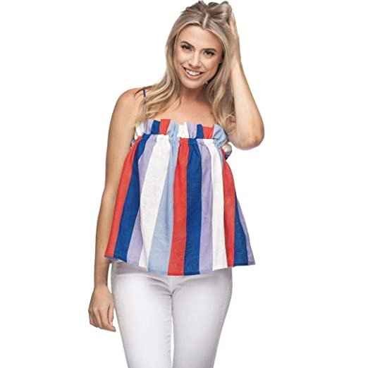 8ef1dd49462 FAPIZI Clearance Women Stripe Sleeveless Blouse Tube Crop Camisole  Sweatshirt Pullover Tops Blouse Shirt at Amazon Women s Clothing store